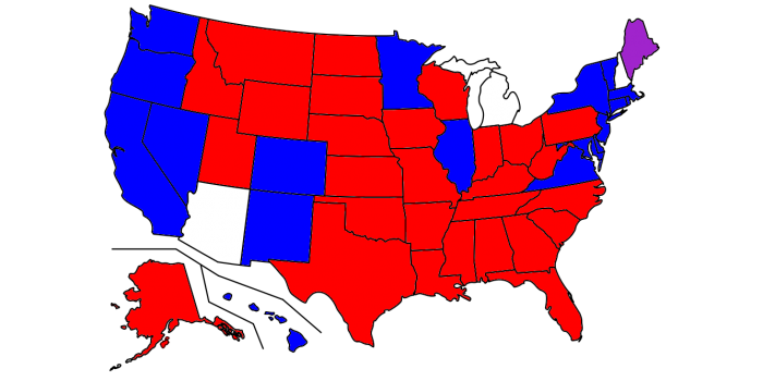 Map Of Us Electorate Red Election Globalinterco - Map of electorate in us