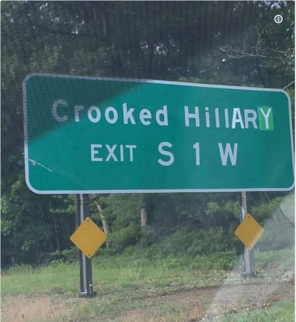 crooked hillary highway sign meme