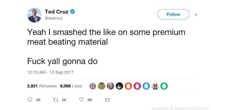 Ted Cruz porn meme fake tweet